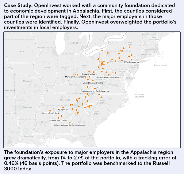 A map showing companies that OpenInvest identified as large employers in Appalachia for a community foundation dedicated to economic development in the region.