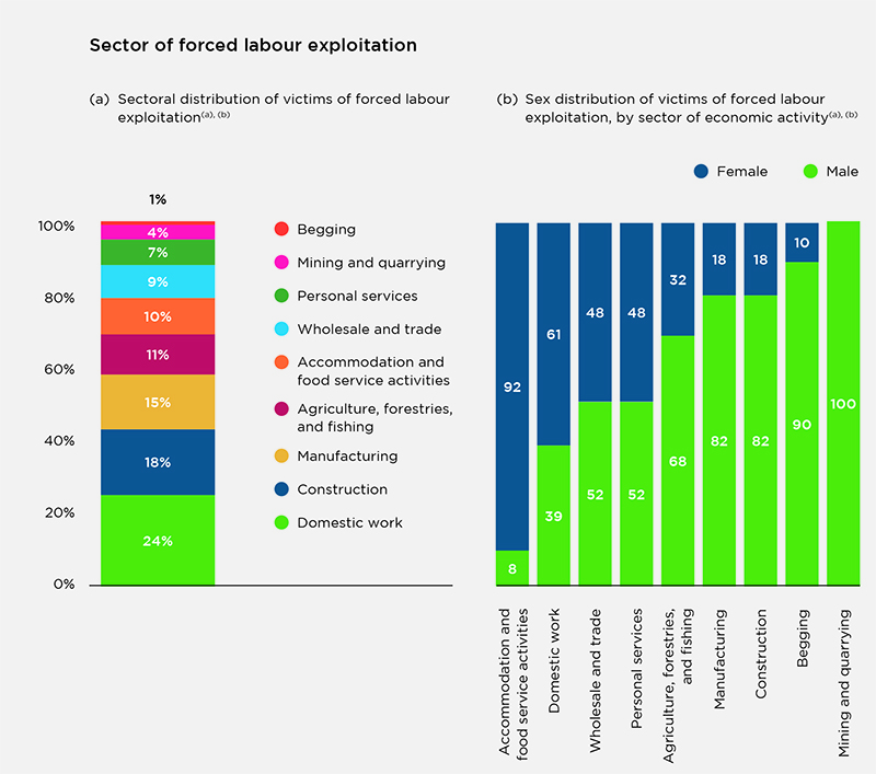 Two bar charts showing the sectors of forced labor exploitation, and the sex distribution of victims of forced labor exploitation, organized by economic activity.