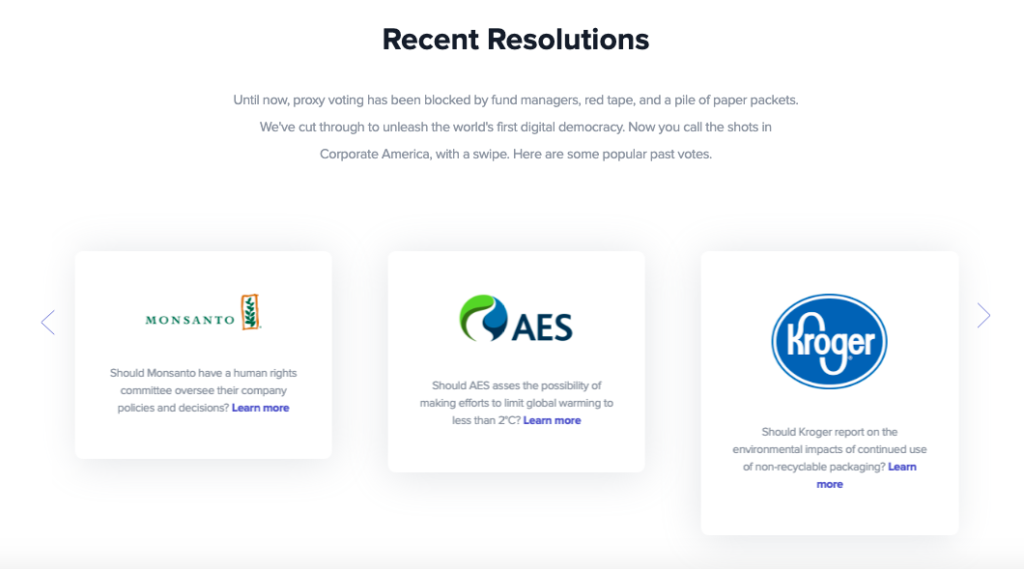 Three examples of shareholder resolutions OpenInvest asks its clients to vote on, including one for Monsanto, one for AES, and one for Kroger.
